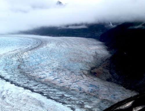 Helicopter Flying over the Magnificent Juneau Icefield in Alaska